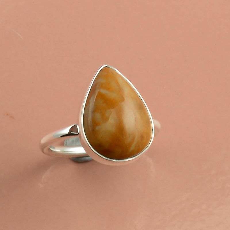 Brecciated Mookaite Gemstone 925 Sterling Silver Ring Size 7