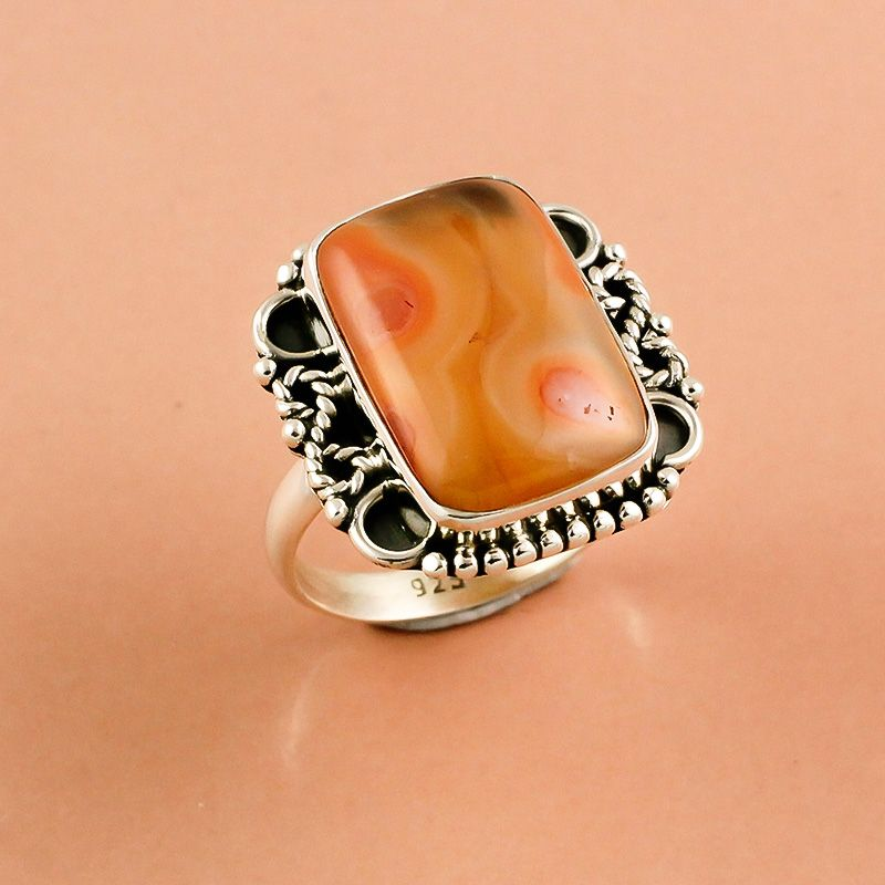 Brecciated Mookaite Gemstone 925 Sterling Silver Ring Size 8