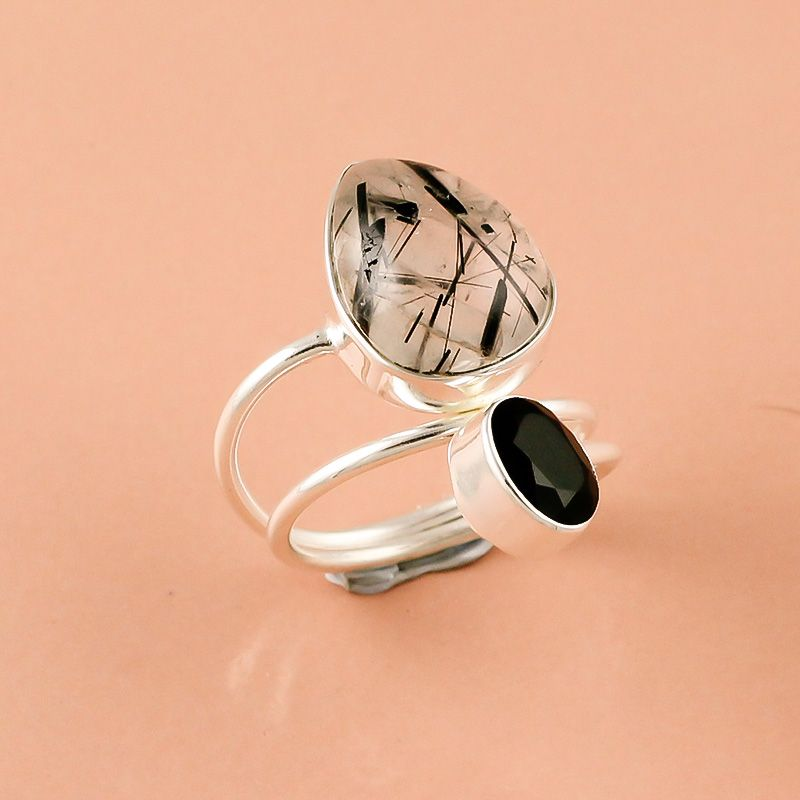 Rutile Black Onyx Gemstone 925 Sterling Silver Ring Size 7