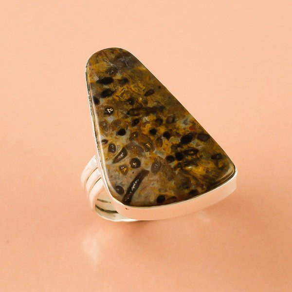 Palm Wood Jasper Gemstone 925 Sterling Silver Ring Size 6.5