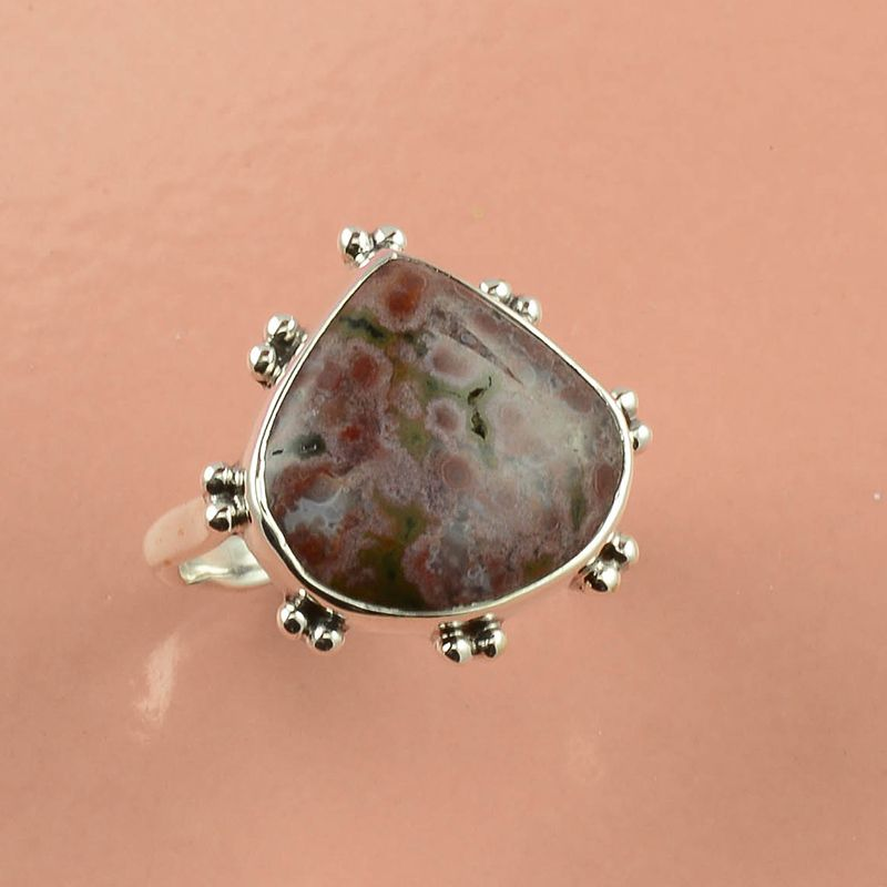 Crazy Lace Agate Gemstone 925 Sterling Silver Ring Size 6