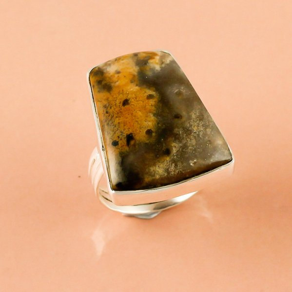 Palm Wood Jasper Gemstone 925 Sterling Silver Ring Size 8