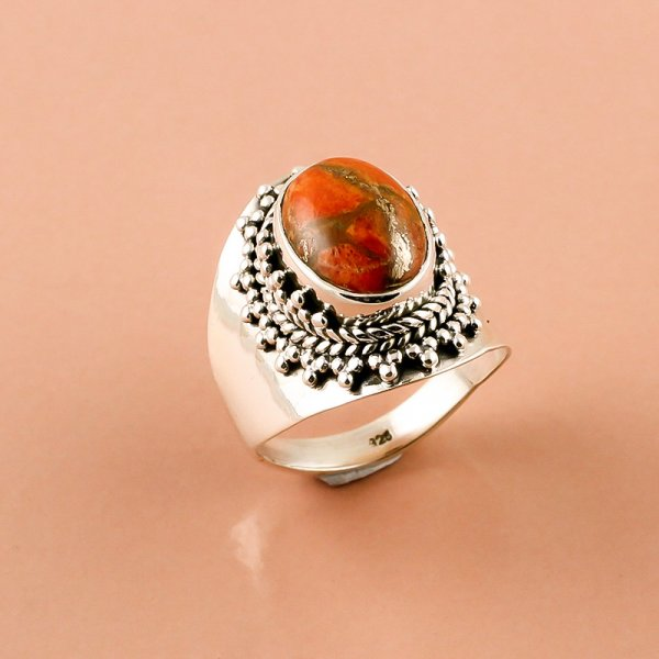 Orange Copper Turquoise Gemstone 925 Sterling Silver Ring Size 9