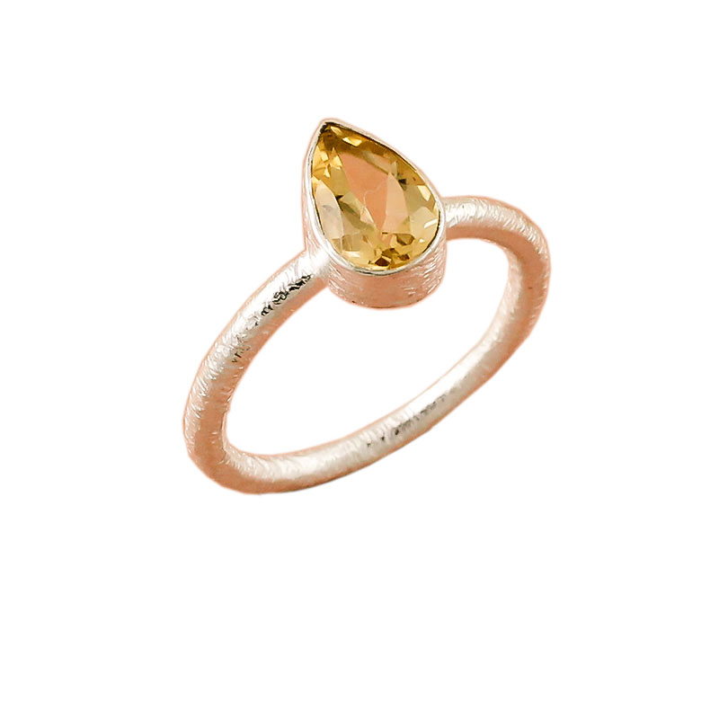 Citrine Gemstone 925 Sterling Silver Stackable Ring
