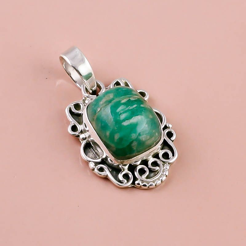 Amazonite Gemstone 925 Sterling Silver Pendant