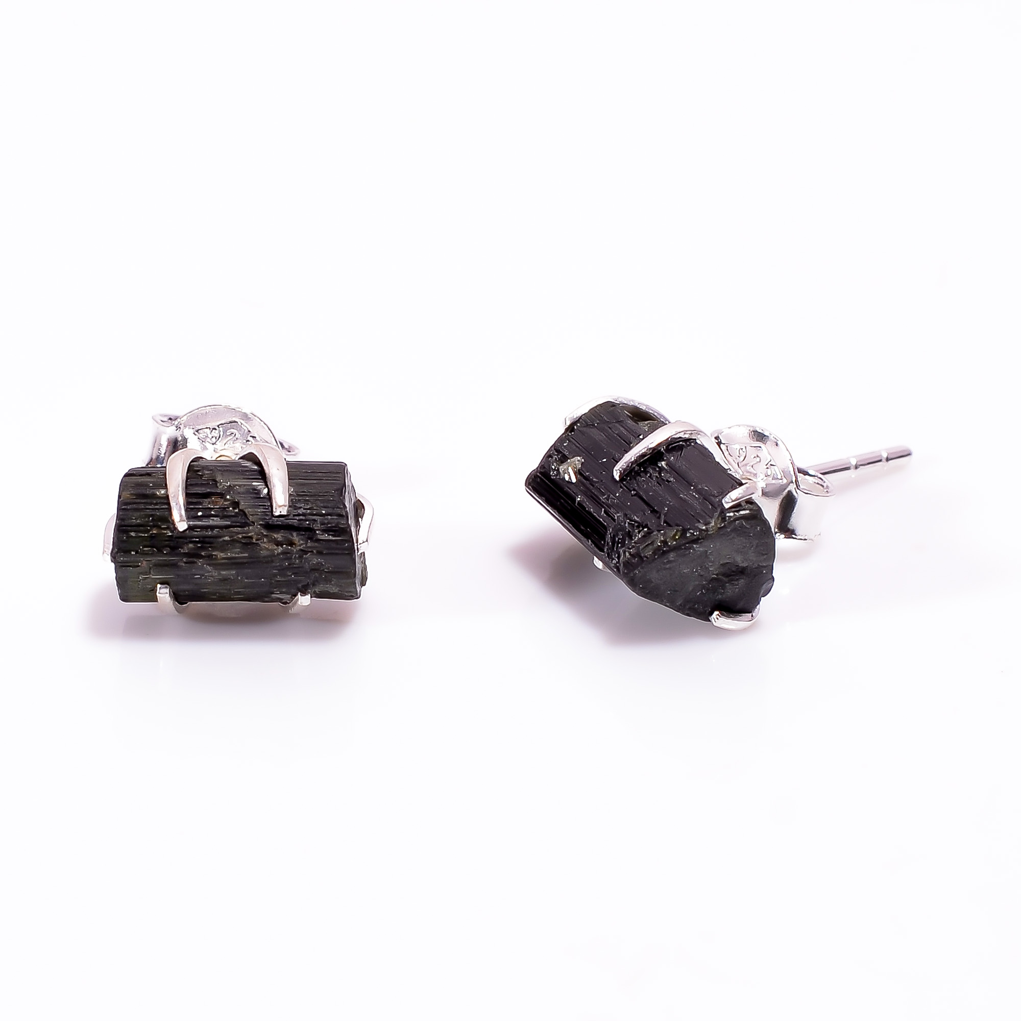Raw Black Tourmaline Gemstone 925 Sterling Silver Stud Earrings
