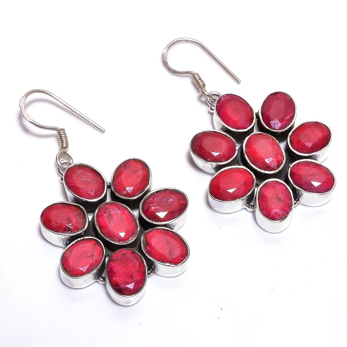 Corundum Ruby Gemstone 925 Sterling Silver Earrings