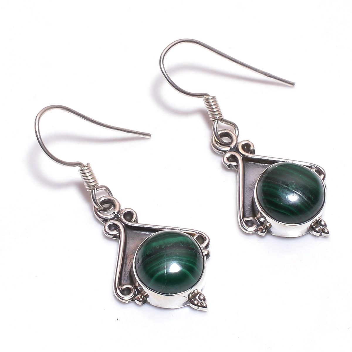 Malachite Gemstone 925 Sterling Silver Earrings