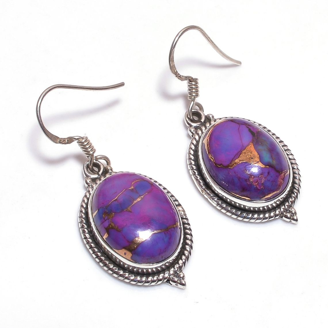 Purple Copper Turquoise Gemstone 925 Sterling Silver Earrings