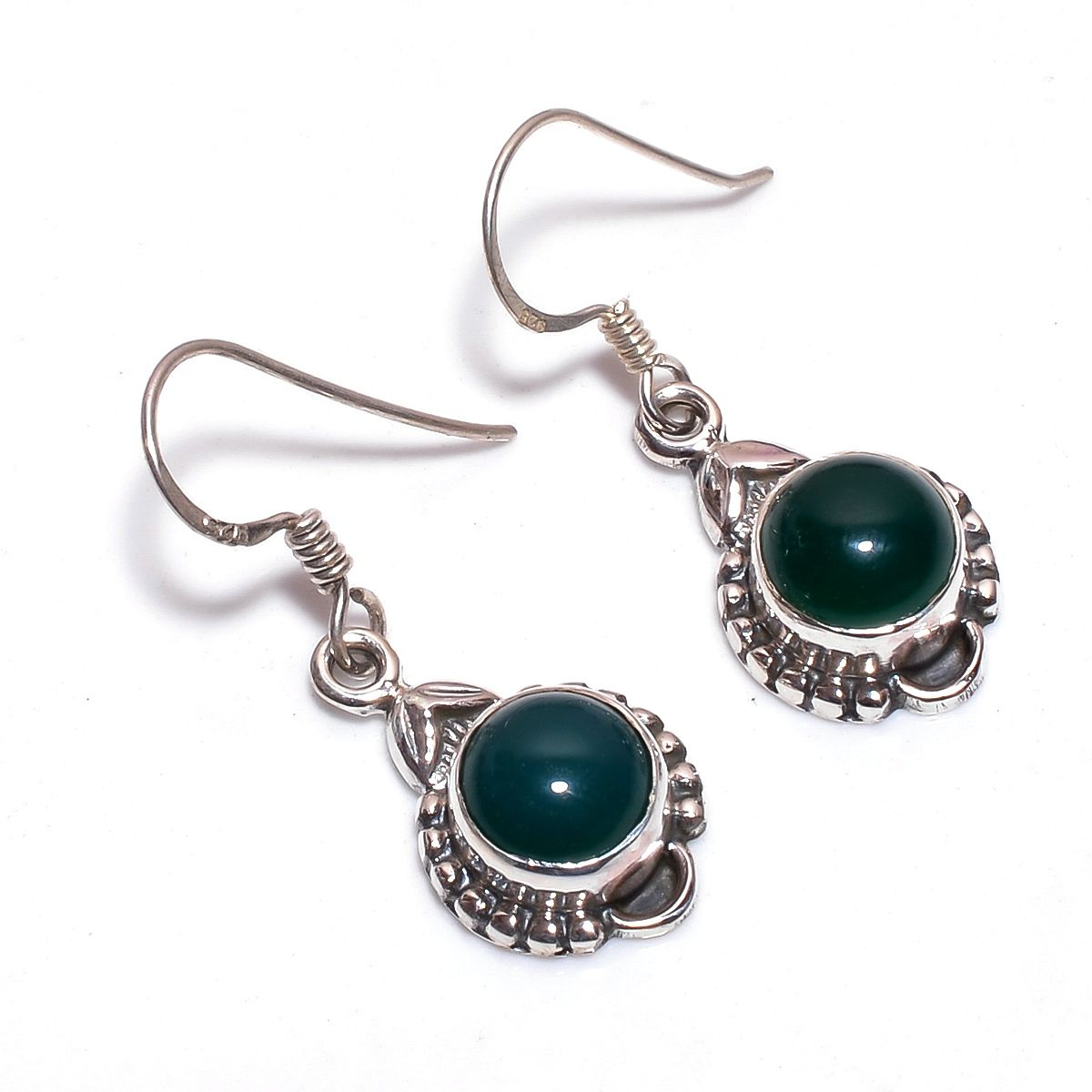 Green Onyx Gemstone 925 Sterling Silver Earrings