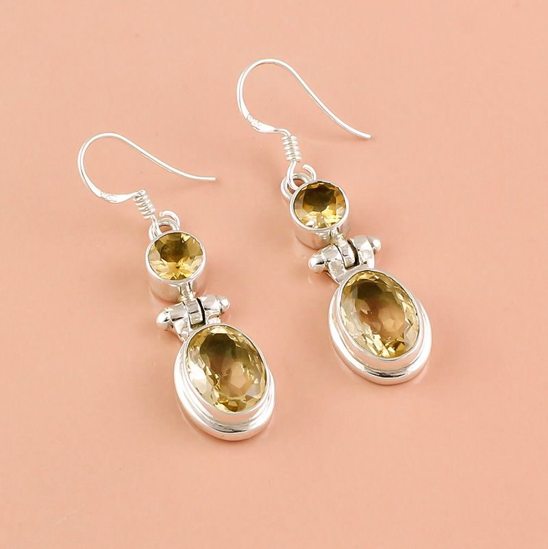 Citrine Gemstone 925 Sterling Silver Earrings