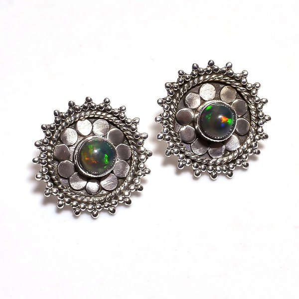 Ethiopian Black Opal Gemstone 925 Sterling Silver Stud Earrings