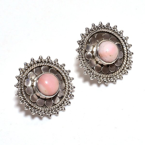 Pink Opal Gemstone 925 Sterling Silver Stud Earrings
