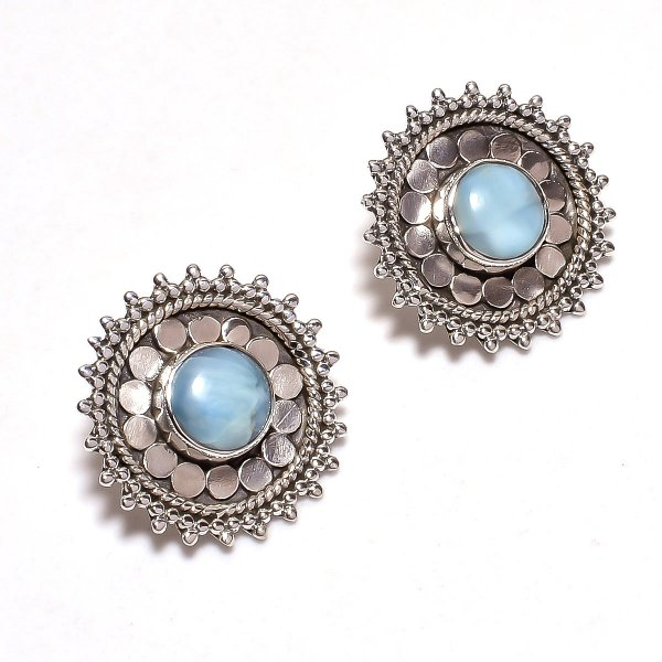 Larimar Gemstone 925 Sterling Silver Stud Earrings