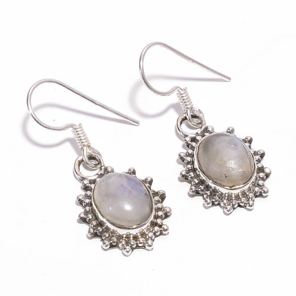 Rainbow Moonstone Gemstone 925 Sterling Silver Earrings