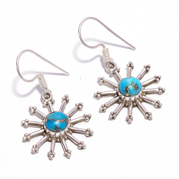 Blue Copper Turquoise Gemstone 925 Sterling Silver Earrings