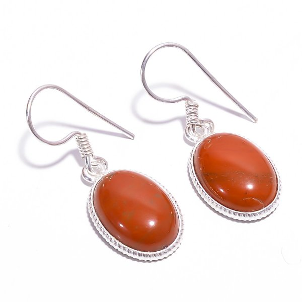 Red Jasper Gemstone 925 Sterling Silver Earrings