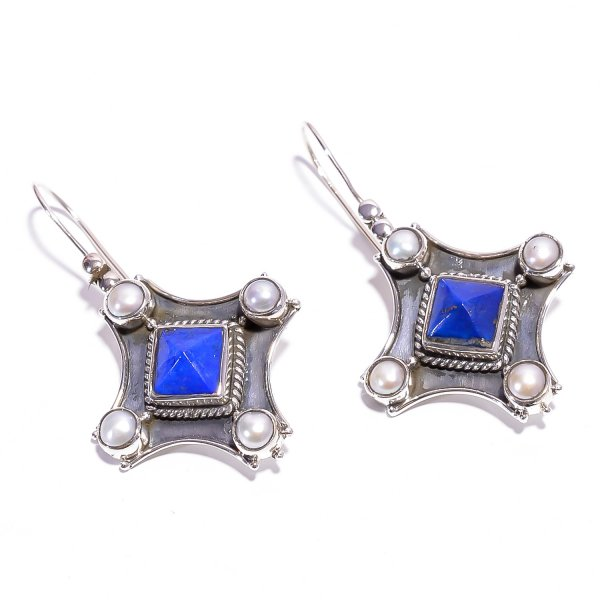 Lapis Pearl Gemstone 925 Sterling Silver Earrings