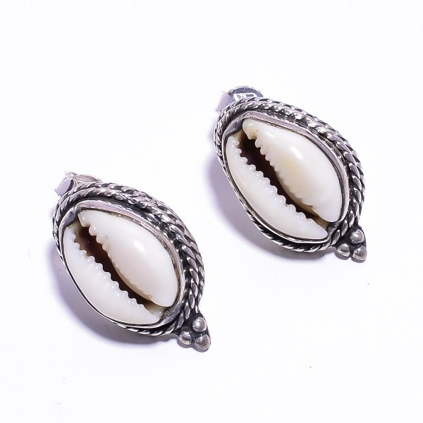 Shell Gemstone 925 Sterling Silver Stud Earrings