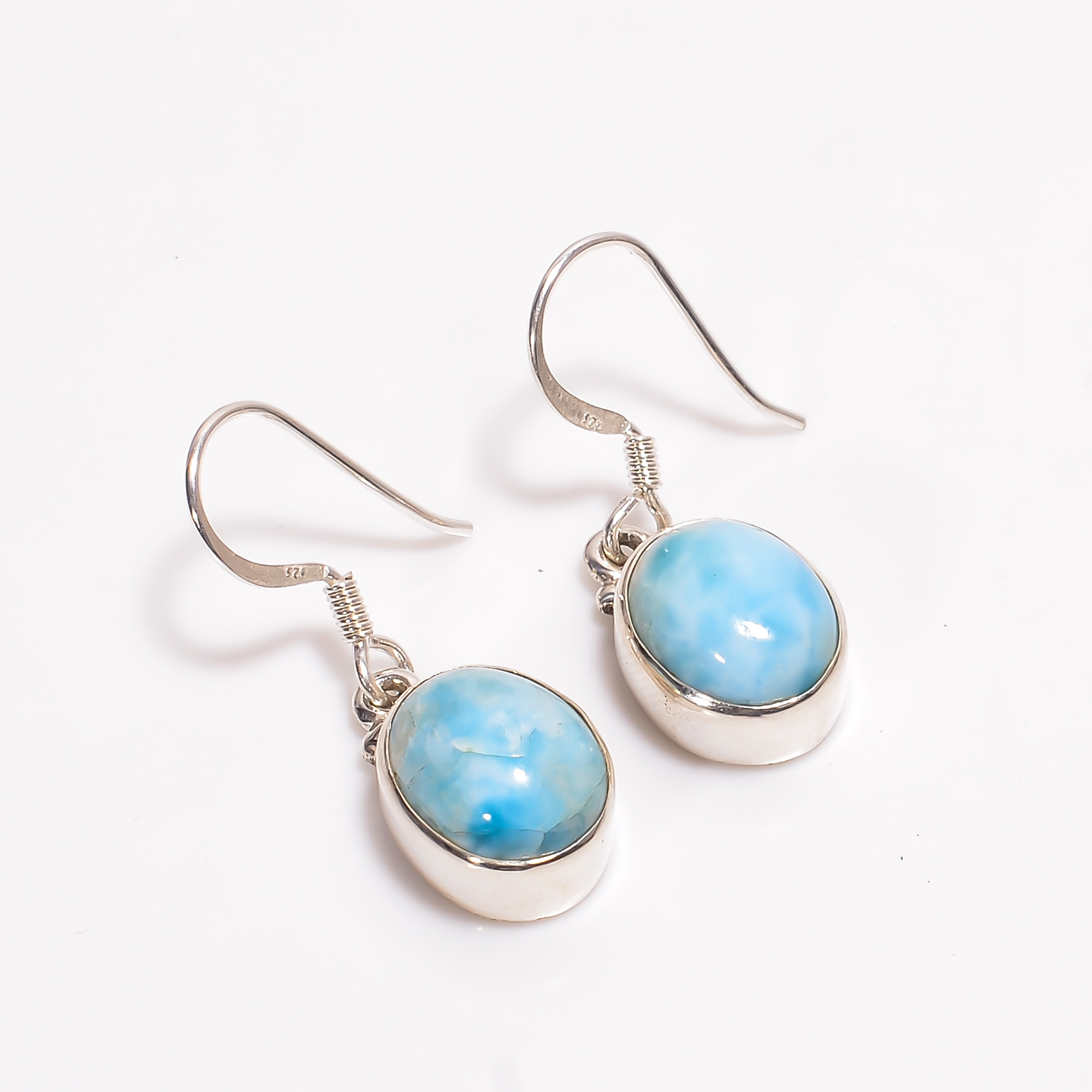 Natural Larimar Gemstone 925 Sterling Silver Drop Earrings