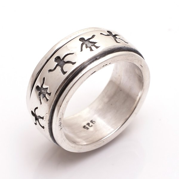 925 Sterling Silver Designer Spinner Ring Size 8
