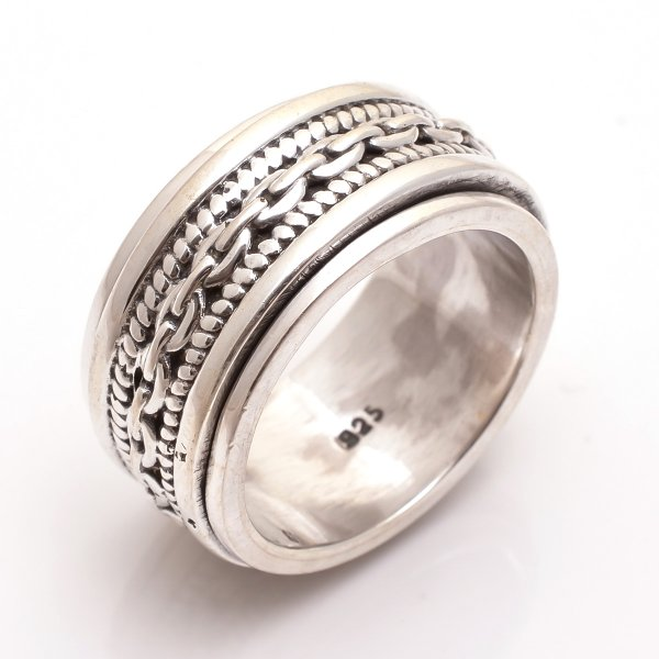 925 Sterling Silver Designer Spinner Ring Size 9.5