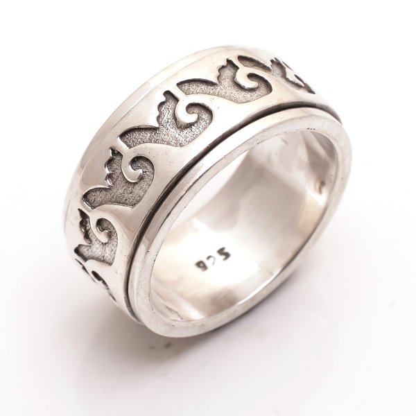 925 Sterling Silver Designer Spinner Ring Size 8.5