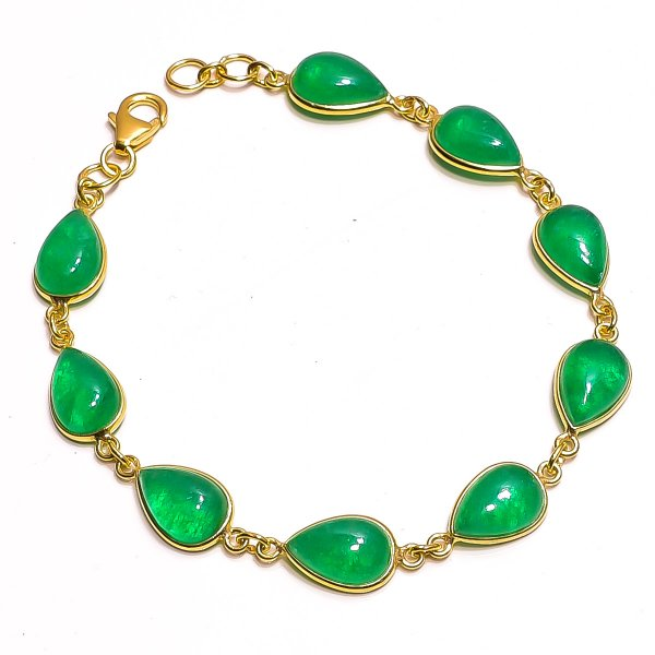 Green Jade Gemstone  925 Sterling Silver Two Micron Gold Plated Bracelet