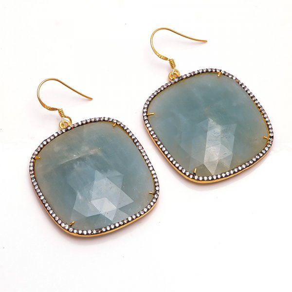 Sapphire Gemstone 925 Sterling Silver Gold Plated Earrings