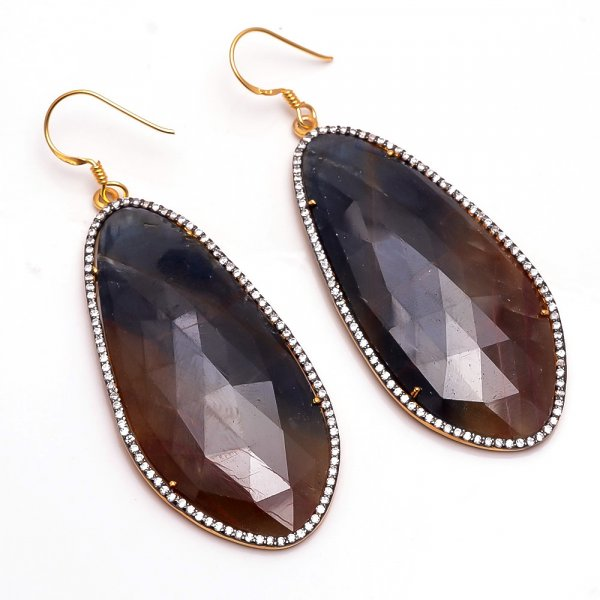 Multi Color Sapphire 925 Sterling Silver Gold Plated Earrings