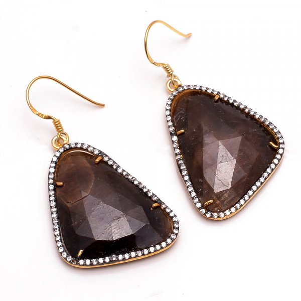 Brown Sapphire Gemstone 925 Sterling Silver Gold Plated Earrings