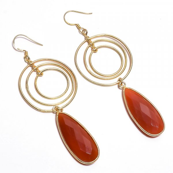 Red Onyx Gemstone 925 Sterling Silver Gold Plated Earrings
