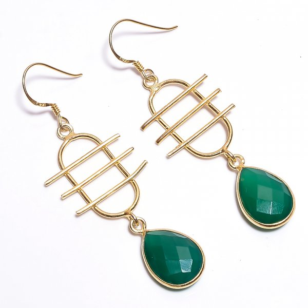 Green Onyx Gemstone 925 Sterling Silver Gold Plated Earrings