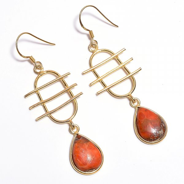 Orange Coppen Turquoise Gemstone 925 Sterling Silver Gold Plated Earrings