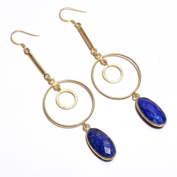 Lapis Gemstone 925 Sterling Silver Gold Plated Earrings