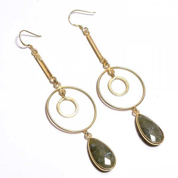 Vasonite Gemstone 925 Sterling Silver Gold Plated Earrings