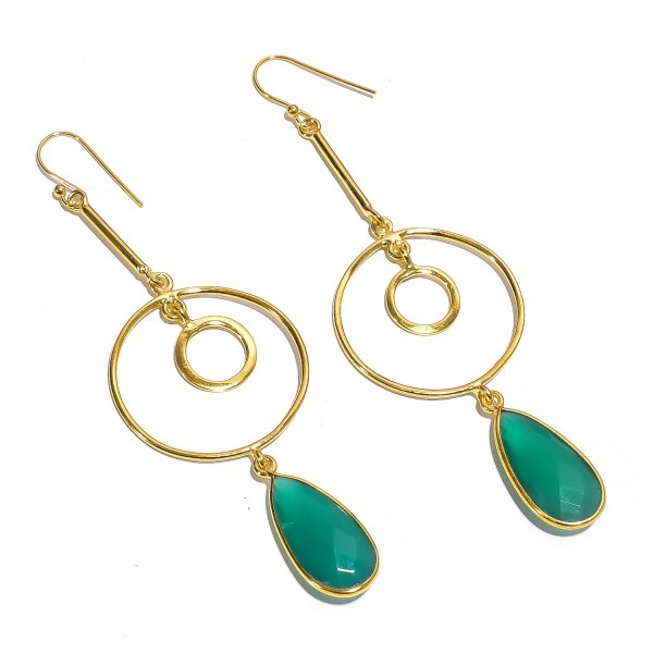 Green Onyx Gemstone 925 Sterling Silver Two Micron Gold Plated Earrings