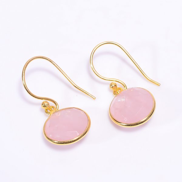 Rose Quartz Gemstone 925 Sterling Silver Gold Plated Earrings