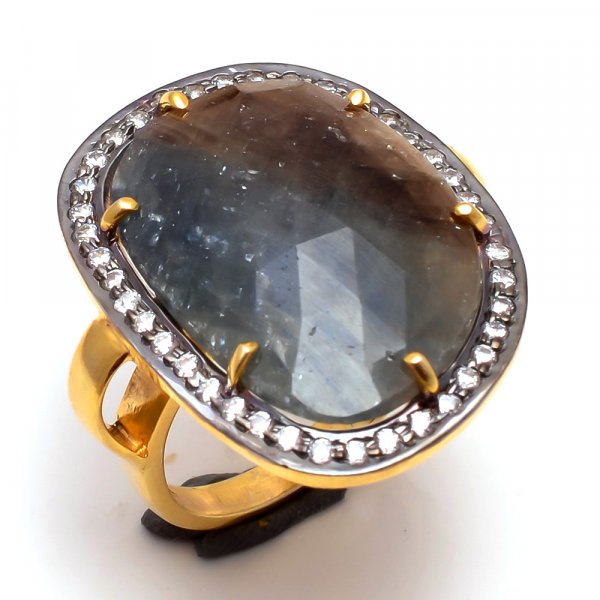 Sapphire Gemstone 925 Sterling Silver Gold Plated Ring Size 8