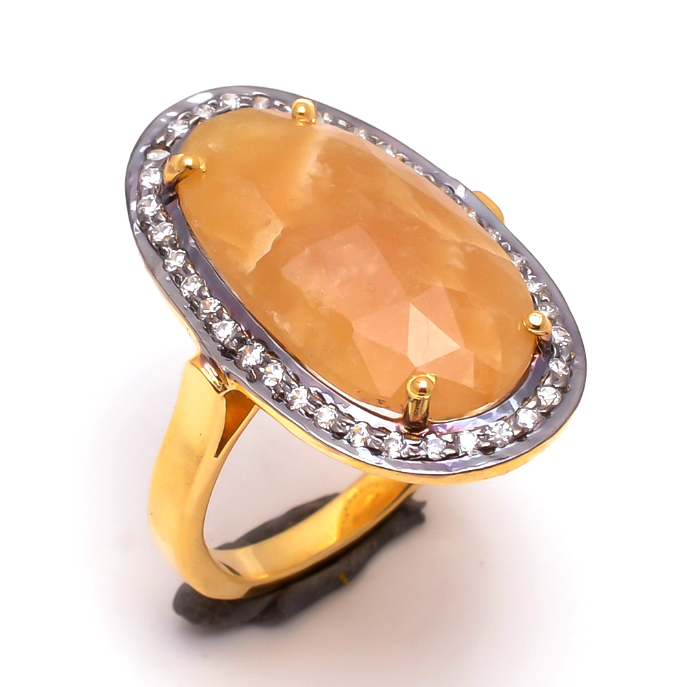 Yellow Sapphire Gemstone 925 Sterling Silver Gold Plated Ring Size 6.5