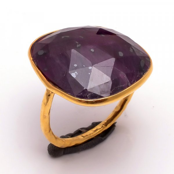 Purple Sapphire Gemstone 925 Sterling Silver Gold Plated Ring Size 7