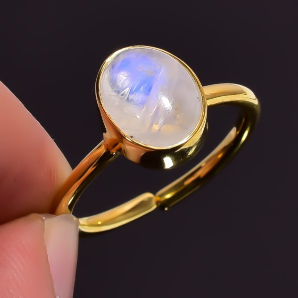 Rainbow Moonstone Gemstone 925 Sterling Silver Gold Plated Ring Size US 7.5 Adjustable