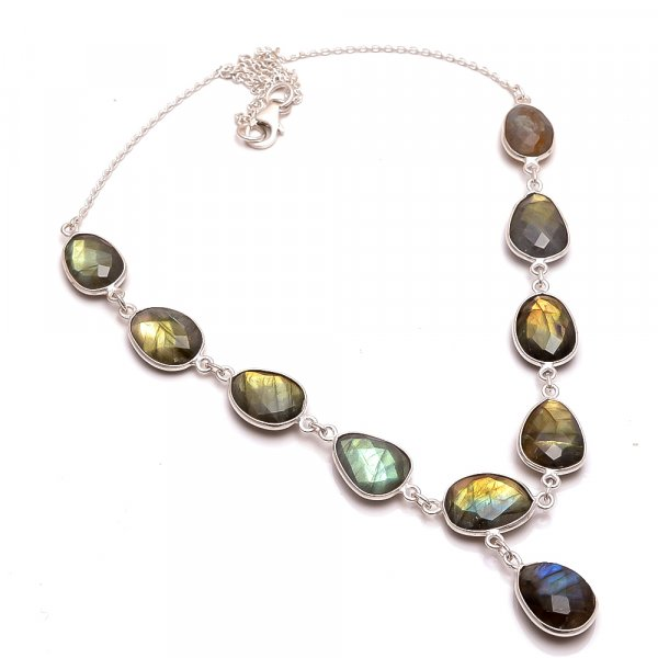 Labradorite Gemstone  925 Sterling Silver Necklace