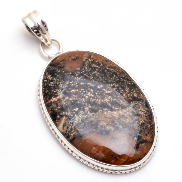 Honey Dendrite Opal  Gemstone 925 Sterling Silver Pendant