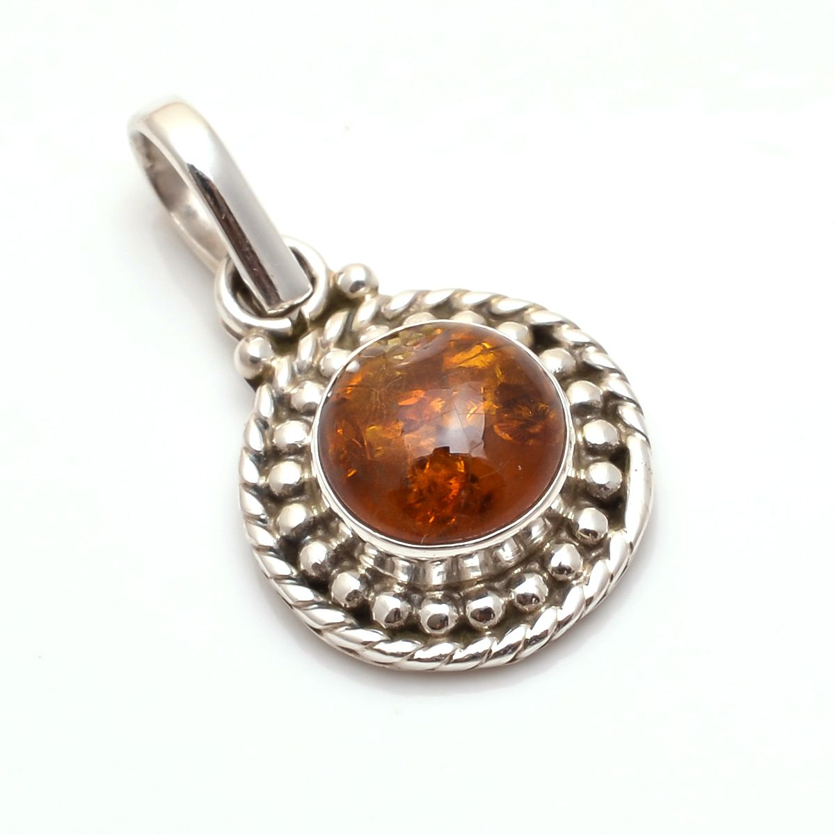 Amber Gemstone 925 Sterling Silver Pendant