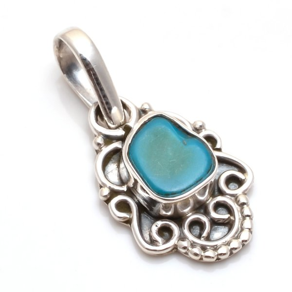 Sleeping Beauty Turquoise Gemstone 925 Sterling Silver Pendant