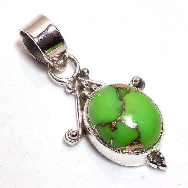 Green Copper Turquoise Gemstone 925 Sterling Silver Pendant