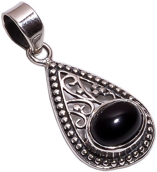 Black Onyx Gemstone 925 Sterling Silver Pendant