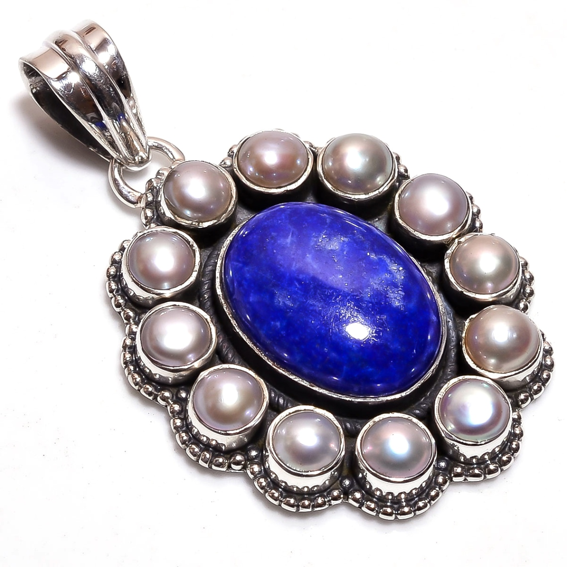 Lapis Pearl Gemstone 925 Sterling Silver Pendant