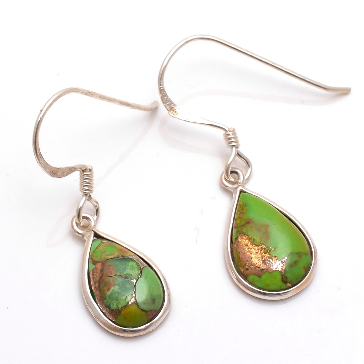 Green Copper Turquoise Gemstone 925 Sterling Silver Earrings